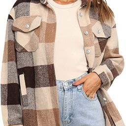 UANEO Womens Casual Plaid Wool Blend Button Down Long Sleeve Shirt Jacket Shackets | Amazon (US)