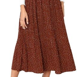 EXLURA Womens High Waist Polka Dot Pleated Skirt Midi Swing Skirt with Pockets   Amazon (US)