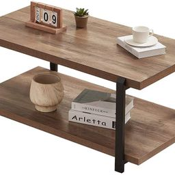 FOLUBAN Industrial Coffee Table with Shelf, Wood and Metal Rustic Cocktail Table for Living Room,... | Amazon (US)