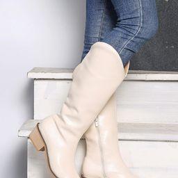 Minimalist Side Zipper Chunky Western Boots | SHEIN