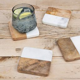Frescorr (TM) - luxurious Atelier Marble and Wood Set of 4 Coasters, 4 x 4 inches for Drinks, Hot...   Amazon (US)