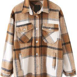 Women Vintage Long Sleeve Lapel Plaid Shirt Pockets Coats Tops Shacket Casual Buttoned Cardigan J... | Amazon (US)