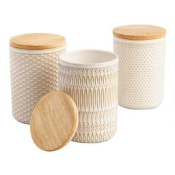Textured Ceramic Storage Canisters with Wood Lids Set of 3 | World Market
