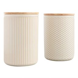 Large Natural Textured Ceramic Canisters with Lids Set of 2 | World Market
