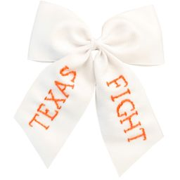 Texas Fight Embroidered Bow (multiple sizes) | Lovely Little Things Boutique