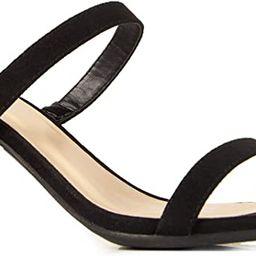 J. Adams Stormi Mules for Women - Square Toe Double Band Low Block Heel Sandals | Amazon (US)