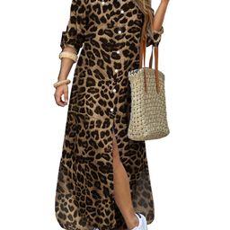 ZANZEA Women's Retro Leopard Print Dress Half Sleeve Shirt Collar Dress | Walmart (US)