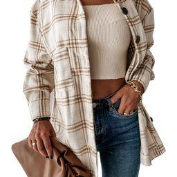 Listenwind Women Long Sleeve Button Plaid Shirt Oversized T Shirts Tops Blouse Jacket Brown   Walmart (US)