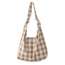 Plaid Print Large Canvas Shoulder Tote Bag Storage Handle Bag for Gym Beach Weekender Travel Reus...   Walmart (US)