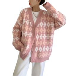 Women Button Down Knit Sweater Long Sleeve V Neck Argyle Print Loose Cardigan Coat | Walmart (US)