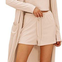 GRACE KARIN Womens 3 Piece Loungewear Set Crop Vest High Waist Shorts and Long Cardigan Pajamas S... | Amazon (US)