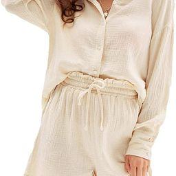 GRACE KARIN Women's Cotton Pajamas Sets Two Piece Sleepwear Long Sleeve Button Down Shirts and Sh... | Amazon (US)