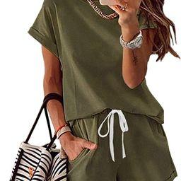 KIRUNDO Women's Pajamas Summer Short Sleeve Crew Neck 2 Piece Outfit Tracksuits Loungewear Pjs ... | Amazon (US)