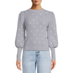 Dreamers by Debut Women's Embroidered Polka Dot Pullover with Puff Sleeves   Walmart (US)