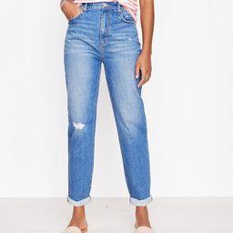 Destructed High Rise Boyfriend Jeans in Dark Indigo Wash   LOFT
