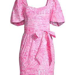 Merian Puff-Sleeve Tie Dress | Saks Fifth Avenue
