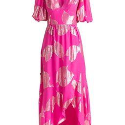 Leaf Puff-Sleeve Midi Dress | Saks Fifth Avenue