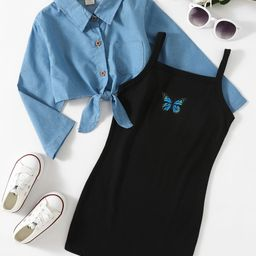 Toddler Girls Solid Denim Shirt With Butterfly Print Cami Dress | SHEIN