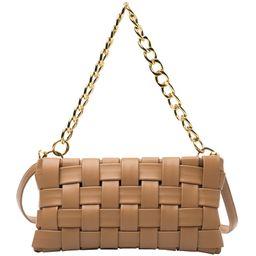 Women's Woven Small Square Bag Portable Messenger Shoulder Chain PU Bag | Amazon (US)