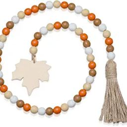 Halloween Wooden Bead Garland Wreath with Tassel, Decorated with Maple Leaves and Pumpkin Beads f... | Amazon (US)