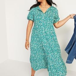 Floral Puff-Sleeve Button-Front Midi Swing Dress for Women   Old Navy (US)