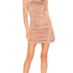 superdown Elora Ruched Off The Shoulder Dress in Taupe from Revolve.com   Revolve Clothing (Global)