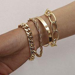 fxmimior Dainty Boho Gold Silver Chain Bracelets Set for Women Adjustable Fashion Beaded Chunky F... | Amazon (US)