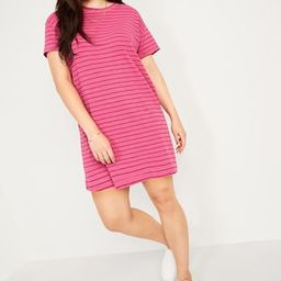 Loose Vintage Garment-Dyed Striped T-Shirt Shift Dress for Women | Old Navy (US)