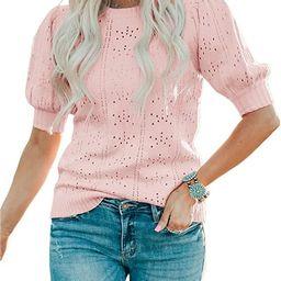 Saodimallsu Womens Cute Short Puff Sleeve Sweaters Loose Crew Neck Lightweight Pointelle Knit Pul...   Amazon (US)