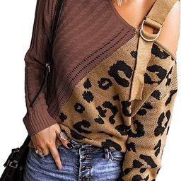BLENCOT Women Long Sleeve Turtleneck Cold Shoulder Sweater Leopard Patchwork Loose Fit Pullover Autu | Amazon (US)