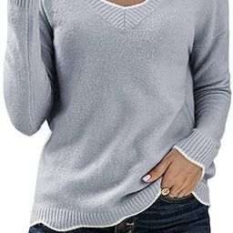 BLENCOT Women's Wave Trim V Neck Long Sleeve Casual Loose Knit Pullover Sweaters | Amazon (US)