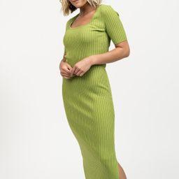 Rib Knit Midi Dress - Green | Rachel Parcell
