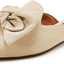Rilista Pointed Toe Mule Flats Oversized Bows Easy Slip-On Backless Shoes for Women | Amazon (US)