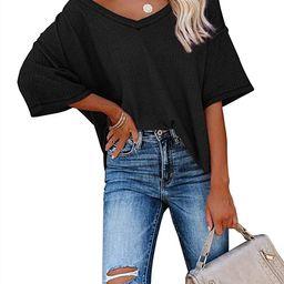 Albe Rita Women Half Sleeve V Neck Shirt Batwing Sleeve Blouse Loose Tops   Amazon (US)