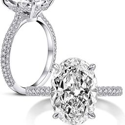 AINUOSHI 925 Sterling Silver Women Wedding Rings 5 Carat Oval Cut Cubic Zirconia Engagement Ring   Amazon (US)