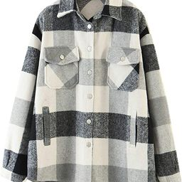 Locachy Women's Casual Plaid Button Down Wool Blend Long Sleeve Jackets Outerwear   Amazon (US)