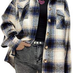 Women's Casual Oversize Label Button Down Long Sleeve Blend Wood Plaid Shacket Jacket Coat   Amazon (US)