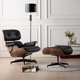 Handler 33'' Wide Tufted Genuine Leather Full Grain Leather Swivel Lounge Chair and Ottoman   Wayfair North America