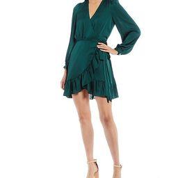 Olivia Deep V-Neck Long Sleeve Ruffle Dress | Dillards
