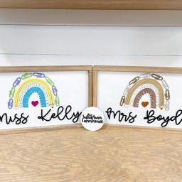 Rainbow Teacher Name Sign The Suburban Farmhouse - Teacher Name Sign - Boho Rainbow - Boho Classr... | Etsy (US)
