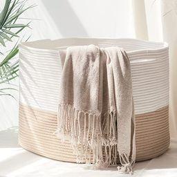 HOMYAM XXX Large Cotton Rope Basket 22x14 inches, Natural Cotton Rope Storage Basket, Blanket Bas...   Amazon (US)
