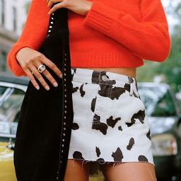 UO Cow Print Denim Mini Skirt   Urban Outfitters (US and RoW)