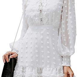 MsLure Women's Elegant Lace Chiffon Mini Dress Lantern Sleeve Ruffle Hem Party Dress | Amazon (US)