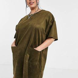 ASOS DESIGN Curve oversized suedette T-shirt dress with pocket detail in khaki | ASOS (Global)