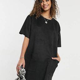 ASOS DESIGN oversized suedette t-shirt dress with pocket detail in black | ASOS (Global)