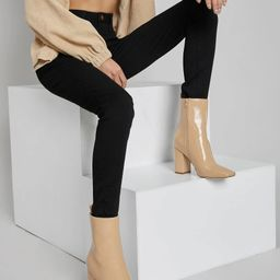 Faux Patent Leather Zippered High Heeled Boots | SHEIN
