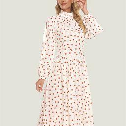 Simple Flavor Polka Dot Ruffle Neck Bishop Sleeve Plicated Dress | SHEIN