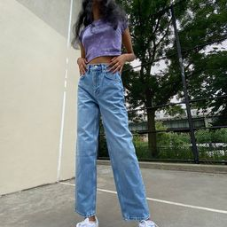 BDG Petite High-Waisted Baggy Jean – Medium Wash | Urban Outfitters (US and RoW)