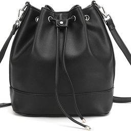 AFKOMST Drawstring Bucket Bag and Purses For Women,Soft PU Leather Shoulder Bag and Hobo Handbags... | Amazon (US)