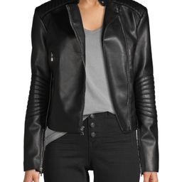 Kendall + Kylie - Kendall + Kylie Women's Faux Leather Asymmetrical Jacket - Walmart.com | Walmart (US)